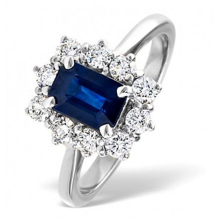18K White Gold 0.50ct H/si Diamond & 1.15ct Sapphire Ring, DCR02-SW